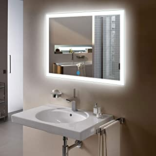 D-HYH Horizontal Rectangle Illuminated Bathroom Wall Mirror White Mirror with Lights with Touch Button 36 x 28 Inch(D-N031-I)