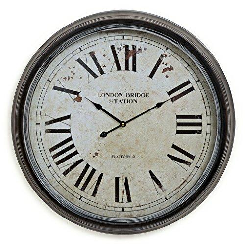 levandeo XXL Wanduhr London 60cm rund aus Metall mit Glasscheibe - römische Ziffern - antik Vintage Landhaus Bahnhofsuhr nostalgische Großuhr Uhr