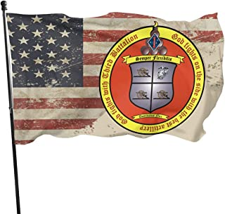 PINGqi 3rd Battalion, 11th Marines and American Flag Banner Breeze Flag Outdoor Flags Home Flag 3' X 5' Ft