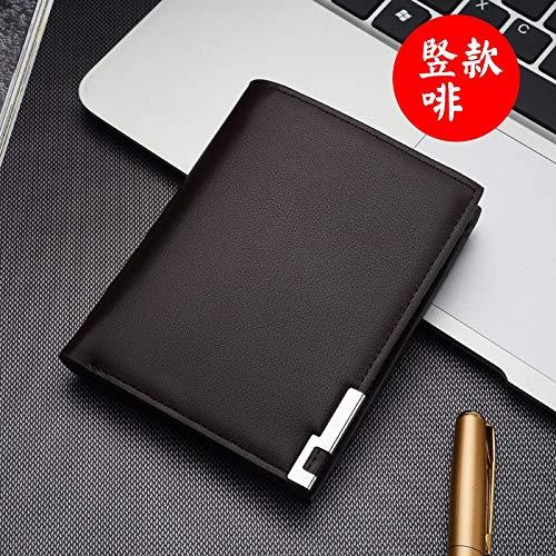BASDW Die neuen Männer Kurze Brieftasche Eisen Rand koreanischen Jungen Herren-Querschnitt Mappenkartenpaket Gezeiten (Color : Brown Vertical, Size : One Size)