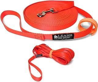 Leashboss Long Trainer - 3/4 Inch Nylon Dog Training Leash with Storage Strap