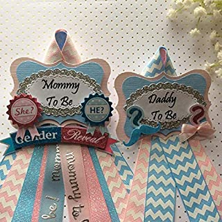 Gender Reveal Set Mommy & Daddy To Be Corsage, Gender Reveal Theme, Baby Shower Gender Reveal Baby Shower Corsage, Pink & Blue Baby Shower Theme