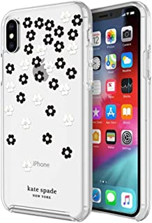 kate spade new york Protective Hardshell Case (1-PC Co-Mold) for iPhone Xs & iPhone X - Scattered Flowers Black/White/Gold Gems/