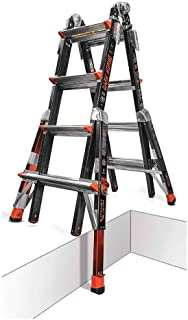 Little Giant 17 Dark Horse Multi-Use Fiberglass Ladder with Ratchet Levelers 300 Pound Rating 15147-801