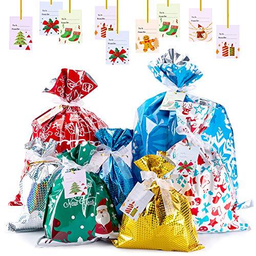 Evance 35 Pezzi Sacchetti Regalo di Natale + 36 Tag Regalo, Sacchetti Caramelle Natalizi Coulisse Sacchetti Portaconfetti Set Confezioni Regalo Sacchetti per Festa di Natale (Nastri)