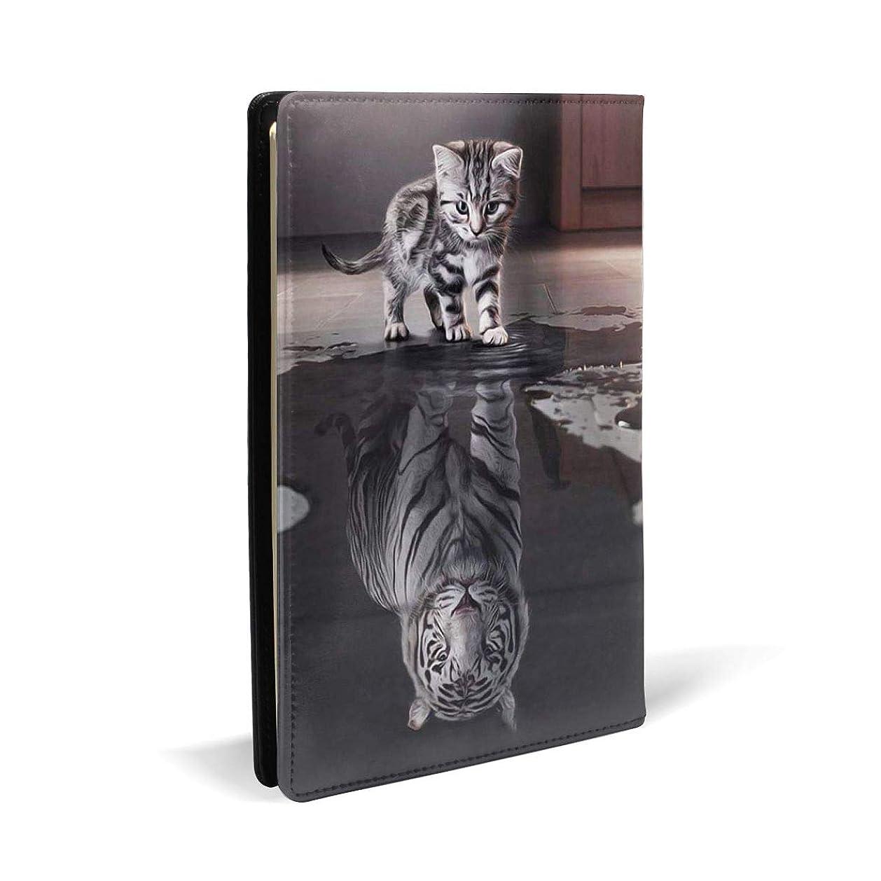 蛇行雲衝動ブラックサーカス ブックカバー A5 PUレザー 白猫の反射虎 文庫本カバー オフィス用品 文房具 カバー 学習用品