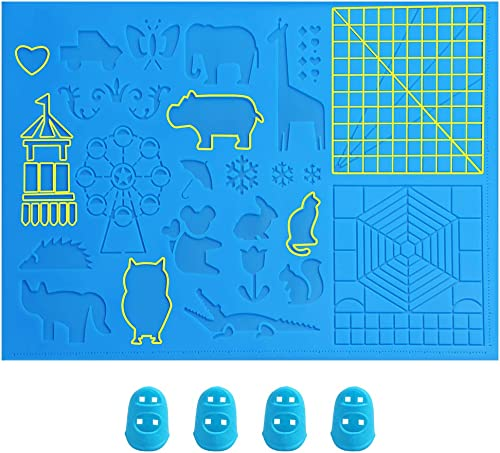 Otavic 3D Pen Mat, Large 3D Printing Pen Mat Silicone Design Basic Template 16.4 x 10.9 Inches with 4 Silicone Finger...