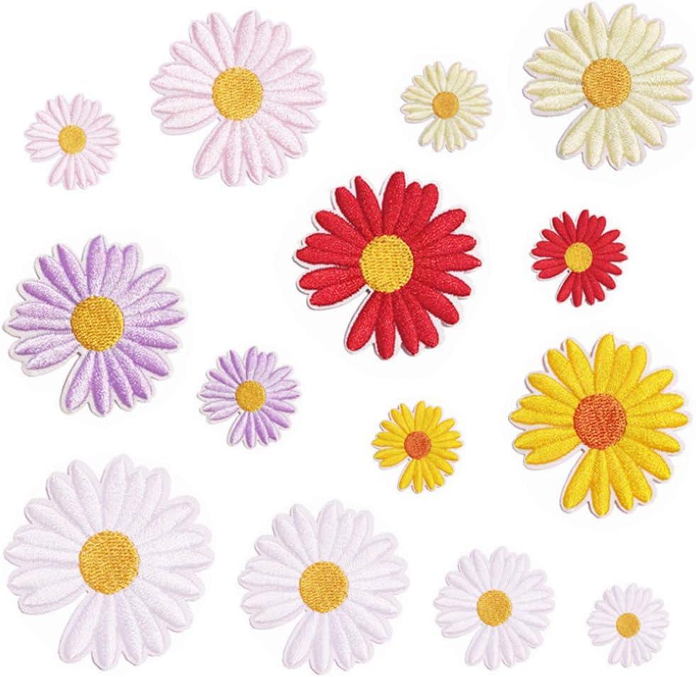 Nuluxi Patrón de Flores Parches Termoadhesivos Apliques de Flores Bordadas Vaquero Parches Plancha Termoadhesivos Aplique Pegatina para Ropa de Bricolaje Vestido Jeans Chaqueta Manualidades(24 Piezas)