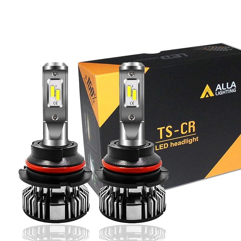 Alla Lighting 10000lm 9007 LED Headlight Bulbs Extremely Super Bright TS-CR HB5 9007 LED Headlight Bulbs Conversion Kits 9007 LED Bulbs, 6000K Xenon White (Set of 2)