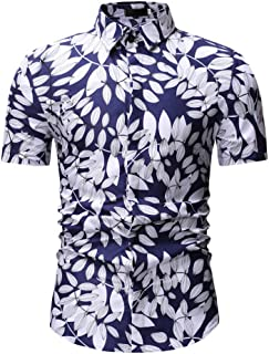 Jinyuan Camisa De Hombre Camisa Hawaiana De Playa con Estampado De Palmeras De Estilo Veraniego Camisa Hawaiana Casual De Manga Corta para Hombre
