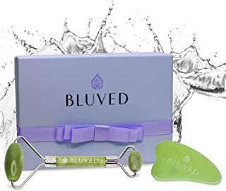 BLUVED Jade Roller for Face - Gua Sha Facial Tool Set - Premium 100% Real Natural Jade Stone - Perfect for Puffiness, Anti Aging Wrinkles Skin Massage, Lymphatic Drainage for Face, Eye, Neck, Body