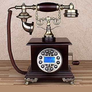 DEERYEO Chinese Antique Telephone American Retro Home landline European Oak Vintage Rotating Office landline