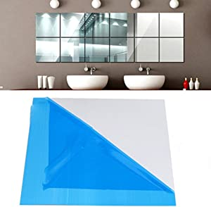 25pcs DIY Square Mirror Wall Stickers - 15cm Self-adhesive Tiles 3D Mirror Decor for DIY Acrylic Home Decoration, Silver Color
