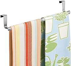 Soporte para toalla de cocina Edelhand/© Toallero para puerta de acero inoxidable 35 cm de largo Soporte para colgar Toallero de puerta de ba/ño incluye 2 ganchos adicionales