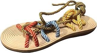 comprar comparacion YWLINK Zapatillas De Verano para Mujer Roma Zapatillas De Playa De Encaje Plano De CáñAmo Cuerda Abierta Sandalias De Dedo...