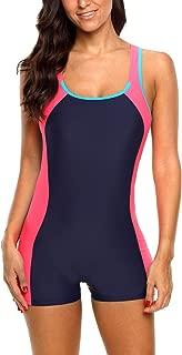 CharmLeaks Women's Boyleg One Piece Swimsuits Sports Swimwear Athletic Boy Short Bathing Suit