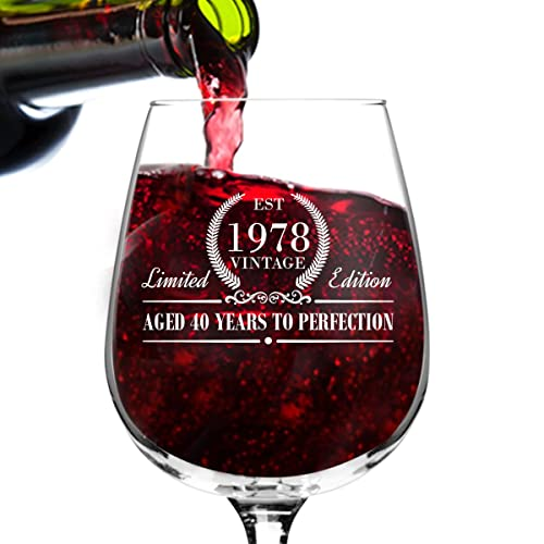 1978 Vintage Edition Birthday Wine Glass For Men And Women 40th Anniversary 12 Oz