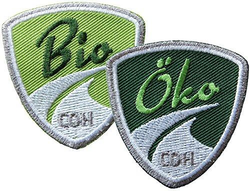 2er-Set Bio & Öko Abzeichen 47 x 48 mm gestickt / Statement zu Umwelt Natur Ernährung Tierschutz ökologische biologische Landwirtschaft / Aufnäher Aufbügler Sticker Flicken Patch für Kleidung Tasche