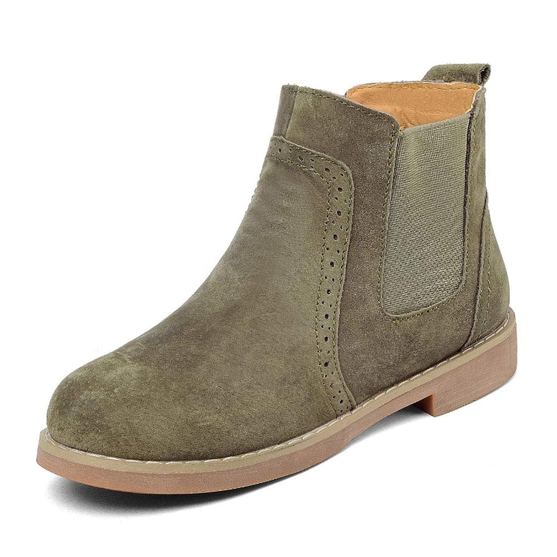 改善部門検出可能HWF レディースシューズ 冬の女性のマーティンブーツ女性の靴厚い暖かいレジャーフラットレトロ、ヒールの高さ2.4cm (色 : Khaki Green, サイズ さいず : 40)
