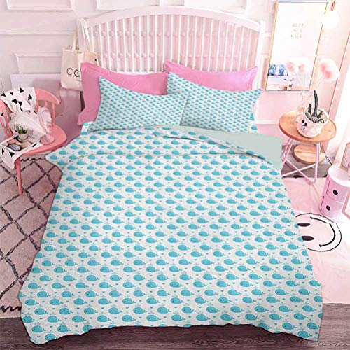 Hiiiman Lightweight Comforter Set 3pcs Little Fish Figures Squirting Water Hearts Childish Pattern for Baby and Kids (3pcs, Twin Size) Soft Microfiber