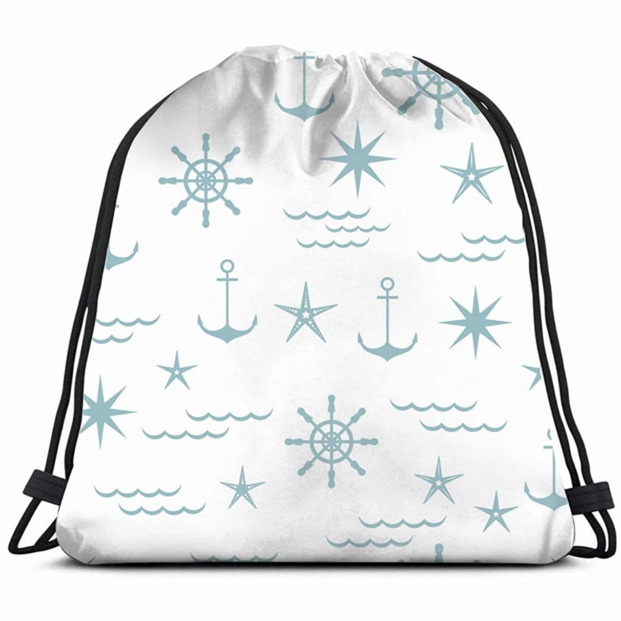 nautical shades blue Drawstring Backpack Gym Sack Lightweight Bag Water Resistant Gym Backpack for Women&Men for Sports,Travelling,Hiking,Camping,Shopping Yoga