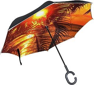 Reverse Umbrella Gallery Hawaii Sunset Palm Tree Windproof Anti-UV for Car