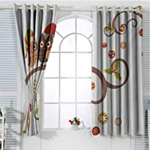Christmas Blackout Curtains for Bedroom Grommet Window Curtain Owls on Celebrating Twiggy Tree Branches Annual Yule Noel Christmas Themed Print Light Curtain Multicolor 84 x 72 inch