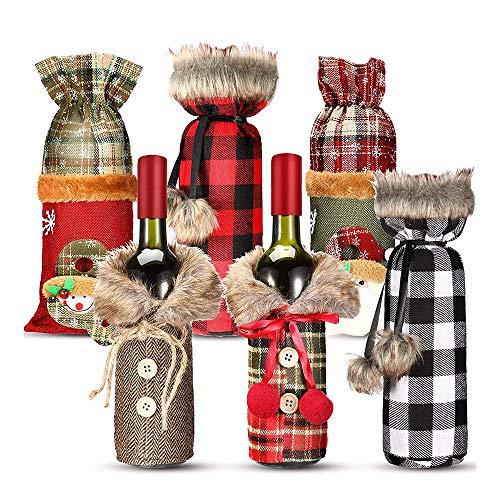 Camisin 6 Piezas SuéTer de Navidad Cubierta de Botella de Vino Bolsas de Botella de Vino Mu?Eco de Nieve Santa Vintage Botella de Vino Presente