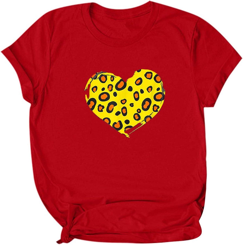 Women's Cute Leopard Love Shirts safety Short Daily bargain sale Sleeve T-Shirts Crewneck