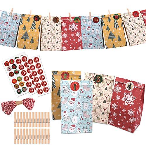 Adventskalender zum Befüllen, 24 Kraftpapiertüten 2020 Geschenk Papiertueten für Weihnachten Party DIY Basteln, mit 24 Weihnachtlichen Aufklebern, 24 Mini-Holzklammern, 24 Juteschnur