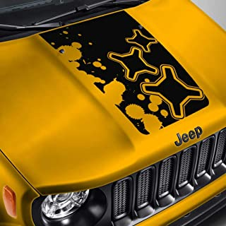SkunkMonkey - Hood Decal for Jeep Renegade - Logo Splatter Blackout Hood Sticker- Black