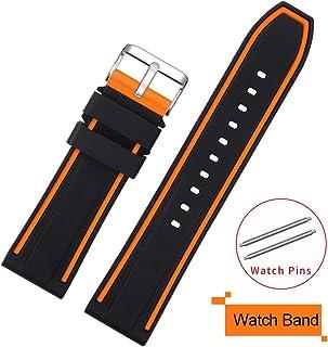 Bracelets de montre Bracelet Perforé noir//orange Couture 18 mm Bande de Sport