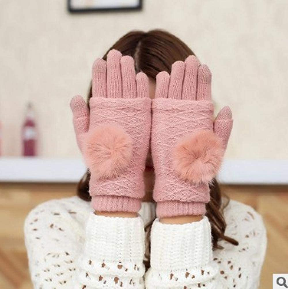 Women's Cold Weather Gloves Knit winter keyboard refers to half finger hair ball mobile phone touch