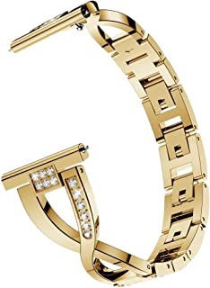 ZHOUJJ Watchbands X-Shaped Diamond Stainless Steel Wrist Strap WatchBand for Galaxy Watch Active 20mm (Black) (Color : Gold)