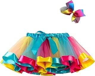 Girls Colorful Rainbow Layered Ribbon Tiered Ballet Tutu Skirt