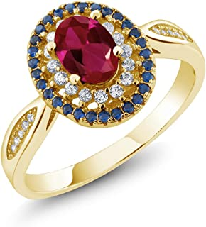 18K Yellow Gold Plated Silver Red Created Ruby Women's Ring 1.54 Ctw Oval (Available 5,6,7,8,9)