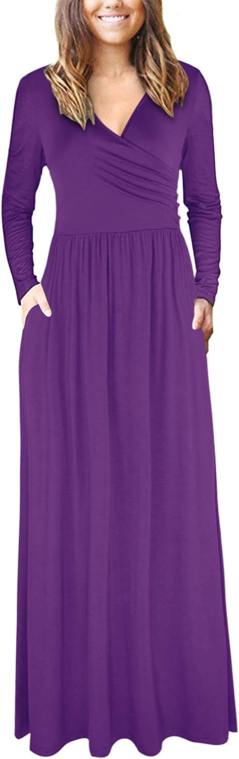 STYLEWORD Women's V Neck Long Sleeve Casual Long Dresses with Pockets