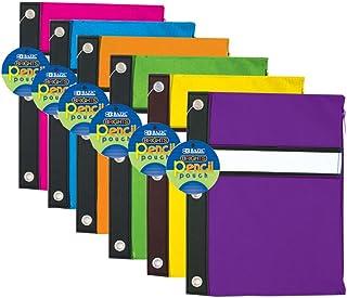 حقيبة أقلام رصاص من 3 حلقات بألوان زاهية من بازيك، حقيبة من 144 (802-144)