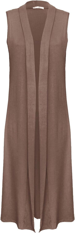 Womens Stylish Sleeveless Open Collared Boyfriend Long Length Maxi Cardigan