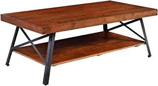 Phoenix Home Canterbury Rustic Solid Wood and Industrial Steel Coffee Table with Open Shelf