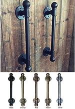 Amerikaanse landelijke antieke zwarte deurklink handgrepen Pull trekt water ijzeren pijp met bal Finial-ivoor, S.