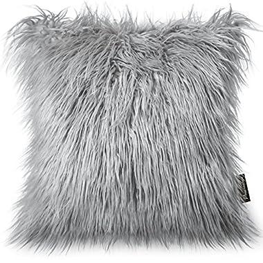 PHANTOSCOPE Decorative New Luxury Series Merino Style Grey Fur Throw Pillow Case Cushion Cover 18  x 18  45cm x 45cm