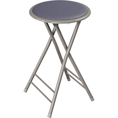 Trademark Home Folding Heavy Duty 24-Inch Collapsible Padded Round Stool, Gray (82-0827-GY)