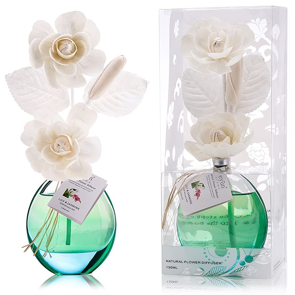 半径限界無駄誕生日 プレゼント に A03 ルームフレグランス (花瓶:水色, 香り:ユリ & ジャスミン)