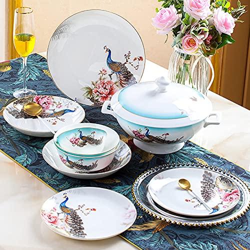 60 stycken Bone China Dinner Set, Porslin Kitchen Dinning Round Servis Kombination Set Service för 10 personer med spannmålsskålar Dessertplattor Rätter och soppkruka Mikrovågsugn och ugnssä