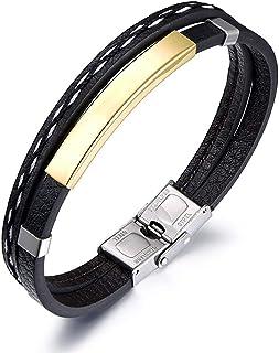 Bracelets for Personalized Mens Men DIY Lettering Retro Black Leather Bracelets Popular Hand Jewelry for Men Dad Boyfriend...