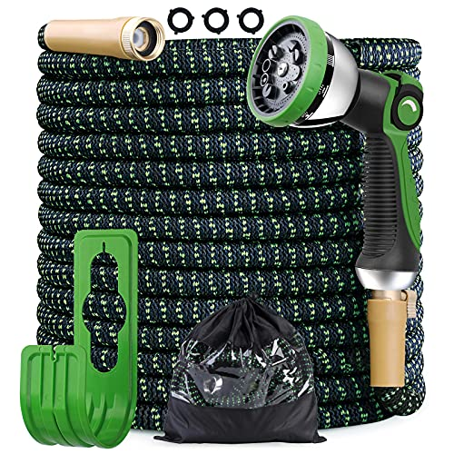 COFUNX Garden Hose,50ft/100ft Expandable Water Hose Kit with 10 Function Zinc Spray Nozzle, Upgraded Anti-Leakage System, 3750D Fabric No-kink Flexibility Hose with 4-Layers Latex (100)