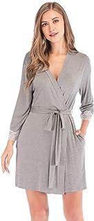 HoneyStore Women's Lightweight Soft Kimono Robes Mini Sleepwear Loungewear