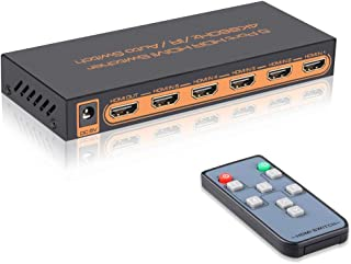 4K@60Hz 5 Port HDMI Switch with Remote,5 in 1 Out 4Kx2K HDMI Auto Switcher, Support UHD, HDR10, Dolby Vision, Atmos, YCbCr 4:4:4, HDCP2.2 and CEC