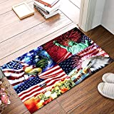 Durable Felt Indoor Rectangle Doormat - American Flag Rooster Statue of Liberty Bald Eagle and Balloon - Water Absorption Non-slip Welcome Mat For Living Room/Bedroom/Bathroom Entrance Rug 16'x24'